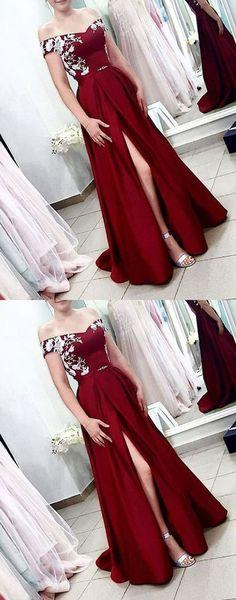 0e9425fa368 Sexy A Line Burgundy Satin Prom Dress