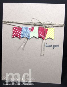 What a great combo by Monika! Banner Blast & its Banner Punch from SAB plus a greeting from the hostess set Express Yourself. All supplies from Stampin' Up!