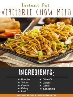 Welcome to my latest Instant Pot recipe and today is all about how to make a delicious Instant Pot vegetable chow mein. Bring together all your favourite Chinese flavours into one quick family noodle… Korma, Instant Pot Pressure Cooker, Pressure Cooker Recipes, Pressure Cooking, Vegetarian Recipes, Cooking Recipes, Healthy Recipes, All Recipes, Healthy Snacks