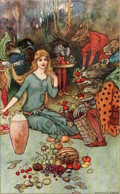 Dora Owen, The book of fairy poetry (1920) Illustration by Warwick Goble for Christina Rossetti's 'Goblin Market'