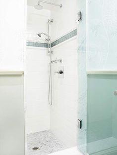 Master bath shower idea. White w blue inside, all glass outside.