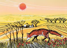'Country Fox' By Printmaker Rob Barnes. Blank Art Cards By Green Pebble. www.greenpebble.co.uk