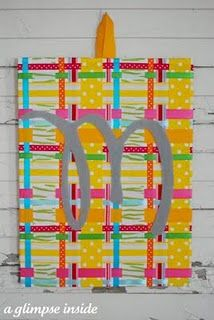 A Glimpse Inside: Spring Plaid Art Tutorial Craft Tutorials, Craft Projects, Craft Ideas, Ribbon Projects, Project Ideas, Decor Ideas, Colorful Bulletin Boards, Fun Crafts, Arts And Crafts