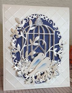 Wedding Card-like howthey tucked the floral ovals edges behind the embossed background