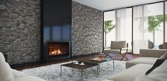 Escea DF960 gas fireplace large flame display creates ambience and atmosphere in every room.
