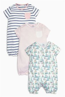 Next Pink Boat Rompers Three Pack (0mths-2yrs) £14.50