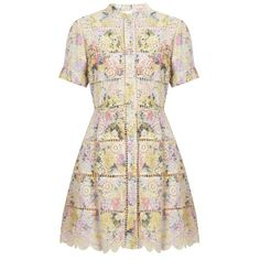 Zimmermann Valour hydrangea-print cotton dress (33.725 RUB) ❤ liked on Polyvore featuring dresses, pink multi, striped dresses, striped cotton dress, zimmermann dresses, pink fit and flare dress and vintage dresses
