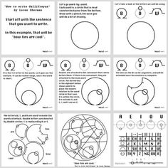 """You may never become a Time Lord — but least you can learn to write in their elegant, intricate language. There's no """"official"""" lexicon to the circular Gallifreyan script we've seen in Doctor Who, but Loren Sherman has a guide to writing in it. Circular Gallifreyan, Serie Doctor, 12 Doctor, Kunst Tattoos, I Need U, Never Be Alone, Good Tutorials, Learning To Write, The Draw"""