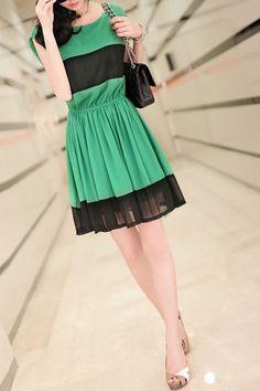 Contrast Colored Elastic Waist Chiffon Dress OASAP.com $45