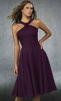eggplant purple, tea length dress