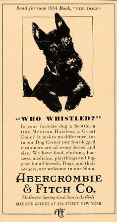 1934 Scottie Lad  Ad. Thinking of my dear friend, Vicky, who loves Scottie's!