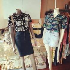 """Hawaiian feels: Hawaiian style vintage shirts paired with Wrangler """"high pencil skirt"""" in blue moon denim, and """"hi bells short"""" in prospect stone denim, and accessorized with vintage backpacks"""