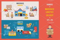 Warehouse and Logistics banners set by LoveDesignShop on @creativemarket