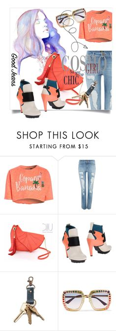 """Tear it Up: Distressed Denim"" by kari-c ❤ liked on Polyvore featuring Lee, UN United Nude, Gucci and distresseddenim"