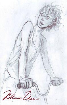 #графика #карандаш #набросок #скетч #эскиз #портрет #парни #парень #мужчина #graphics #pencil #sketch #portrait #guys #guy #man #эмоции #emotions #мальчик #boy #вeлосипед #ветер #майка #кудри #bike #wind #shirt #curls