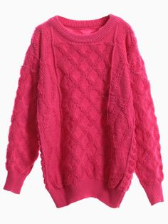 Pink Fluffy Cable Knit Sweater #jumper #winter #knit