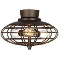 Oil Rubbed Bronze Industrial Cage 3-60 Watt Ceiling Fan Light Kit- DIY update ceiling fan