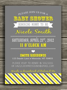 Yellow and Gray Baby Shower Invitation  - FREE thank you card included. $15.00, via Etsy.