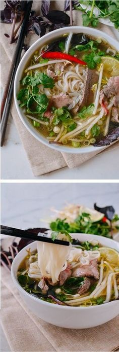 Pho is a Vietnamese noodle soup topped with awesome things like fresh bean sprouts, basil, and chilies and this pho recipe was approved by a Vietnamese friend! Vietnamese Soup, Vietnamese Cuisine, Vietnamese Recipes, Asian Recipes, New Recipes, Soup Recipes, Cooking Recipes, Healthy Recipes, Ethnic Recipes