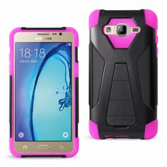 Reiko Samsung Galaxy On5 Hybrid Heavy Duty Case Hot Pink Black (Silicon Case+Protector Cover) With Kickstand-Black