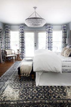 One Room Challenge Master Bedroom Makeover by Hunted Interior // Blue Bedroom // Shibori Drapery // Chandelier