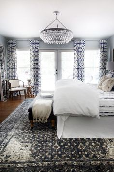 One Room Challenge Master Bedroom Makeover by Hunted Interior // Blue Bedroom // Shibori Drapery // Chandelier