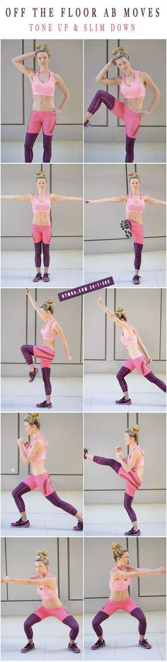 Standing Abs Workout. Do each move in a circuit with little or no break in between. Try these for 8 weeks 3 times a week on non consecutive days. #workoutguide
