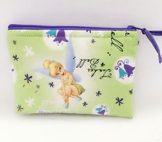 Disney Tinkerbell zippered pouch, coin purse, small makeup bag by PopThree on Etsy https://www.etsy.com/listing/268877477/disney-tinkerbell-zippered-pouch-coin