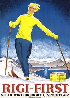 Rigi-First Switzerland Vintage Skiing 1920s Posters Prints