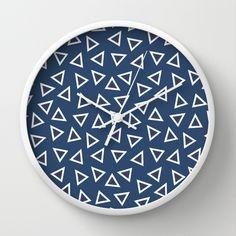 Triangle Spots Wall Clock #blue #navy #white #red #triangles #spots #dots #geo #geometric