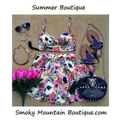 Summer Bouquet Matching Top and Skirt with Adustable Straps (Multi Color Floral Design) - Smoky Mountain Boutique