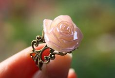 Virgo special: Vintage rose ring, bronze filigree ring, fashion flower jewellery accessory handmade on Etsy, $3.00