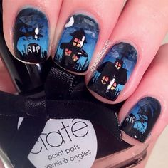 Pin for Later: 101 Halloween Nail Art Designs That Are a Major Treat Haunted Horizon Source: Instagram user naileficent