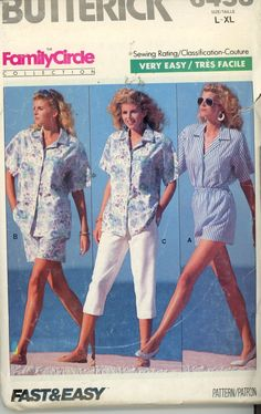 Butterick 6453 Misses Shirt,Crop Shorts, Pants Sz 16-18, 20-22 UNCUT - Sewing Patterns