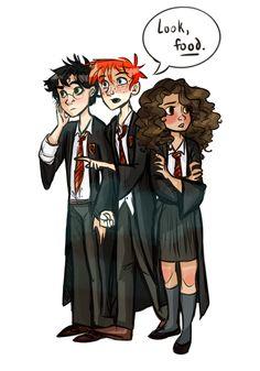 Harry Potter, Ron Weasley & Hermione Granger   art by dellbelle39