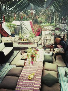 Sukkah with floor pillow seating