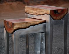 Tel Aviv-based designer Hilla Shamia fuses wood and aluminium to create some fabulous and unusual tables.