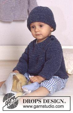 DROPS Baby 11-14 - DROPS Vest of trui met ronde pas en muts van DROPS Passion of DROPS Air