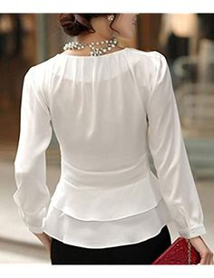 DPO Womens Chiffon Pleated Slim Fit Long Sleeve Round Neck BlouseWhite Tag Size: medium US Size: 4 ** For more information, visit image link. (This is an affiliate link) Blouse Styles, Blouse Designs, Dressy White Blouses, Hijab Fashion, Fashion Outfits, Latest African Fashion Dresses, Altering Clothes, Blouses For Women, Long Sleeve