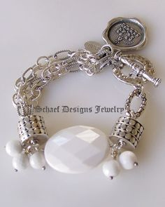 Schaef Designs designer white agate, sterling silver figaro chain bracelet $525.00