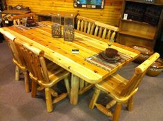 7 foot log dining table with 6 chairs- $1,799.   Table Also available in 5 and 6 feet.