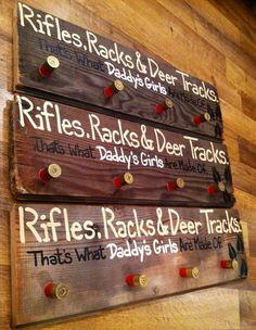 Rifles Racks and Deer tracks, Thats what Daddys Girls are made of Hunting Crafts, Hunting Stuff, Wood Crafts, Diy And Crafts, Rifle Rack, Wood Projects, Projects To Try, Deer Tracks, Oh Deer