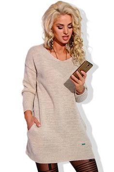 Women s Knit Stylish Trendy Warm V Neck Jumper Sweater Winter Pockets