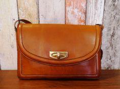 Cool Vintage bisquit leather shoulder bag  by BelledeJourVintage
