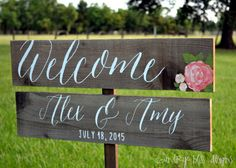 Etsy Country Bliss Designs Wedding Welcome Sign These hand made wood wedding signs are such a sweet and charming way to greet and direct your guests to each venue for your wedding!