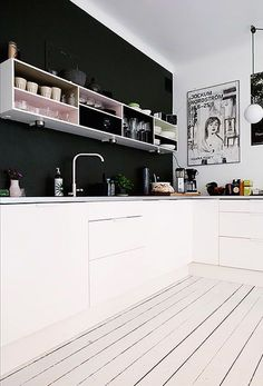 All white, black accent wall