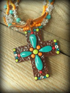 Bold Western Clay Cross Necklace San Jaun by GrittynPretty on Etsy, $38.00