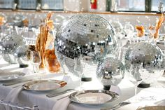 Love the disco ball tablescape.  Party Favorites - Event Planning Resource - BAR MITZVAHS WEDDINGS BAT MITZVAHS SHOWERS SWEET 16s