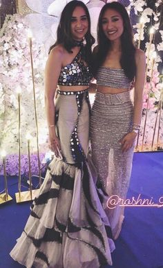 Dress on the left Indian Bridal Outfits, Indian Designer Outfits, Designer Dresses, Indian Designers, Indian Gowns Dresses, Kurti Designs Party Wear, Dress Indian Style, Party Wear Dresses, Wedding Dresses