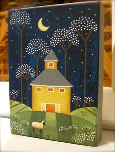 This sweet original folk art painting is especially for the barn lover. Blossom Barn features a yellow round barn with spring blossoming all